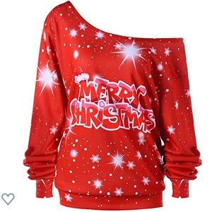 Drop 1 Shoulder Merry Christmas Plus Size Sweater